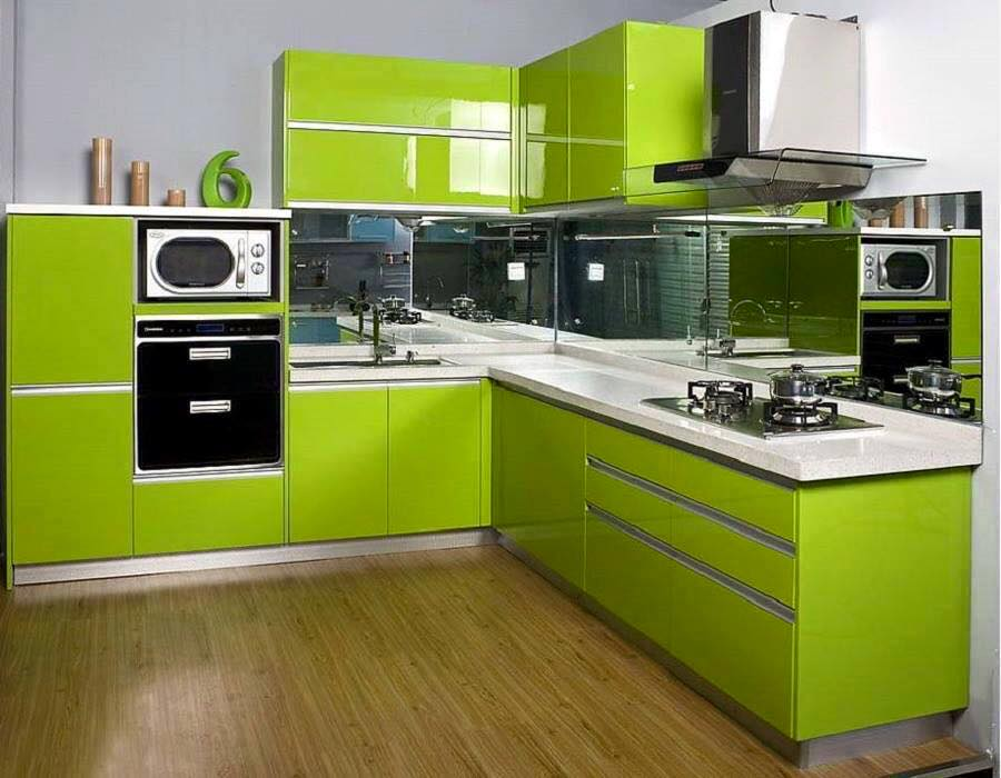 Muebles de cocina color verde oliva ideas for Cocina encimera verde