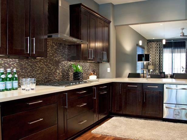 Gabinetes modernos de cocina color caf alto lago for Colores para gabinetes de cocina
