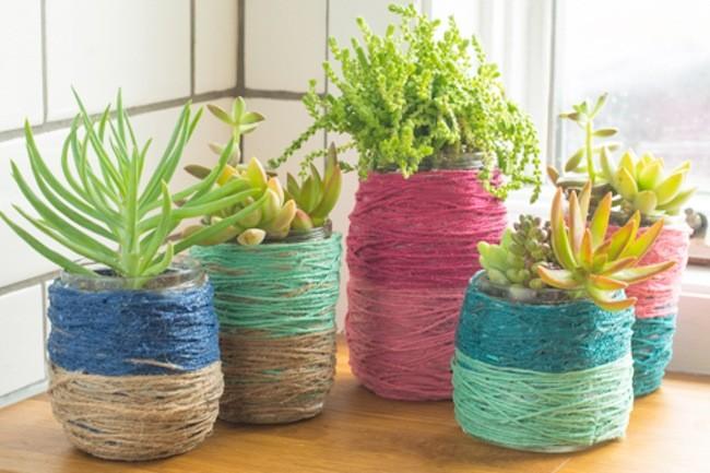 macetas para cactus con hilo de color | alto lago privada residencial